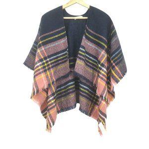 Zara Girls Pink Navy Blue Wool Shawl Wrap Size M